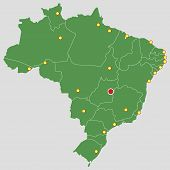 Brazil Green Map Country Major Cities States Geography Illustration poster