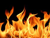 picture of flames  - close up of fire and flames on a black background  - JPG