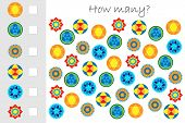 How Many Counting Game With Mandalas For Kids, Educational Maths Task For The Development Of Logical poster