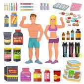 Bodybuilding Sport Food Bodybuilders Supplement Proteine Power And Fitness Diet Nutrition For Bodybu poster