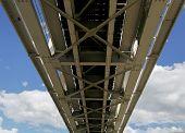 Bottom View Of The Railway Bridge. Metal Constructions Of The Railway Bridge, The Bottom View. Blue  poster
