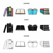 Vector Design Of Library And Textbook Sign. Set Of Library And School Stock Symbol For Web. poster