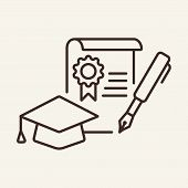 Degree Line Icon. Academic Cap, Diploma, Pen. School Concept. Vector Illustration Can Be Used For To poster