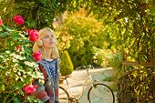 Active Leisure And Lifestyle. Girl Ride Bicycle For Fun. Blonde Enjoy Relax In Park Or Garden. Activ poster