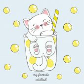 Vector Illustration Of Cute Kawaii Hand Drawn Cat In Anime Style In A Glass Of Lemon Cocktail With Y poster