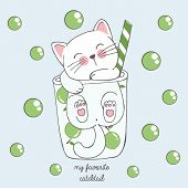 Vector Illustration Of Cute Kawaii Hand Drawn Cat In Anime Style In A Glass Of Lime Cocktail With Gr poster