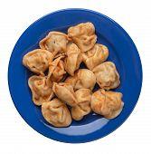 Dumplings On A Blue  Plate Isolated On White Background. Dumplings In Tomato Sauce. Dumplings Top Vi poster