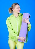 Practicing Yoga Every Day. Girl Slim Fit Athlete Hold Fitness Mat. Fitness And Stretching. Stretchin poster