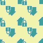 Green House Under Protection Icon Isolated Seamless Pattern On Yellow Background. Home And Lock. Pro poster
