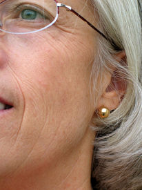 stock photo of wrinkled face  - woman - JPG