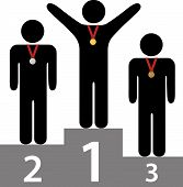 pic of three tier  - People get gold silver bronze medals on three tier award podium platforms for first second third place - JPG