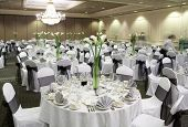 picture of reception-area  - Fancy wedding reception area ready for guests and the party - JPG