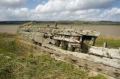 foto of collier  - Remains of the Severn Collier built in Stourport 1937 and beached at Purton in 1965 to help prevent the River Severn erroding into the Gloucester Sharpness Canal - JPG