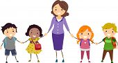 picture of stickman  - Illustration of School Kids and Their Teacher Holding Hands - JPG