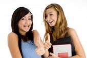 picture of thumbs-up  - laughing students showing thumbs up with bag and books on an isolated background - JPG
