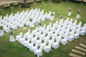 stock photo of ceremonial clothing  - Wedding ceremony in a beautiful garden - JPG