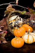 foto of cornicopia  - Basket filled with autumnal thanksgiving colors and items - JPG