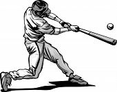 stock photo of hitter  - Baseball Hitter Swinging at a Fast Pitch Vector Illustration - JPG