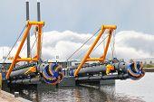 foto of dredge  - New dredge ship in the Dutch shipyard - JPG