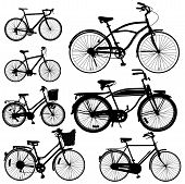 stock photo of tricycle  - Set of Bicycle Vector isolate on white - JPG