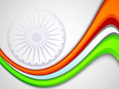 picture of asoka  - Indian flag color creative wave background with  Asoka wheel - JPG