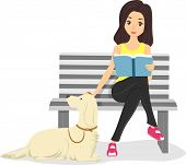 picture of bookworm  - Illustration of a Girl Stroking Her Pet - JPG