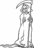 pic of scythe  - Black and White Cartoon Illustration of Spooky Halloween Death with Scythe or Skeleton Character for Coloring Book - JPG