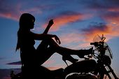 Silhouette Woman Motorcycle Heels Up Hand Knee