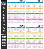 stock photo of weekdays  - English calendar for years 2014 - JPG