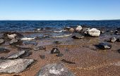 foto of murmansk  - Large gray rocks on the shore of Lake Kolvitsa - JPG