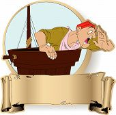 image of peg-leg  - Shouting guard on a mast of the piracy ship - JPG