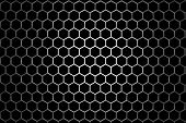 Steel Grid With Hexagonal Holes Under Round Central Light