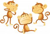 picture of evil  - Vector illustration of three wise Monkeys acting out the age old saying and proverb of See no Evil Hear no Evil and Speak no Evil - JPG