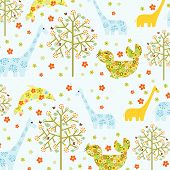 Floral Abstract Pattern With Animals poster