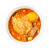 stock photo of camphor  - Close up Muslim style chicken and potato curry or chicken mussaman curry  - JPG