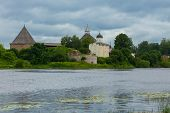 pic of rebuilt  - The fortress of Ladoga was built in the 12th century and rebuilt 400 years later Old Ladoga Russia