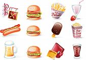 Vector cartoon style icon set. Part 21. Fast Food