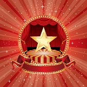 picture of stage decoration  - vector circle circus stage with golden star and blank banner - JPG