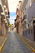 picture of san juan puerto rico  - colorful street scene of row houses in san juan - JPG