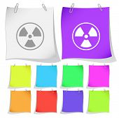 Radiation symbol. Raster note papers.