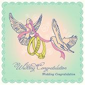 stock photo of ring-dove  - Vector Wedding Invitation or Conrgatulation Card with two doves - JPG