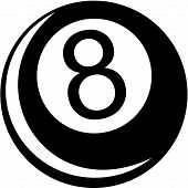 billiard 8-ball on white