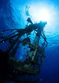 pic of bottomless  - Bottom view of the ship wreck and silhouette of the snorkeler on the surface - JPG