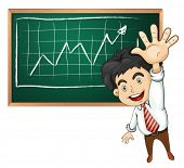Illustration of a very happy businessman in front of the blackboard on a white background