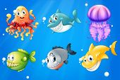 Illustration of a deep ocean with smiling creatures