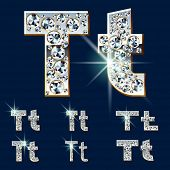 Ultimate vector alphabet of diamonds and platinum ingot. Six options. Letter t
