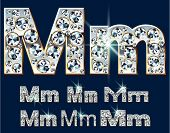 foto of letter m  - Ultimate vector alphabet of diamonds and platinum ingot - JPG