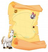 Illustration of a white horse and a treasure map on a white background