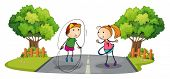 foto of hulahoop  - Illustration of the children playing in the middle of the street on a white background - JPG
