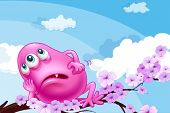Illustration of a pink monster resting at a branch of a tree